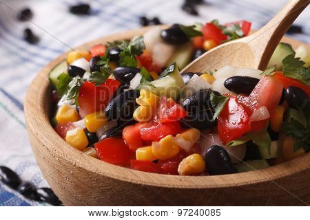 Mexican Salad With Black Beans, Avocado, Corn And Tomatoes Macro