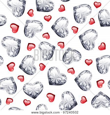 Ruby and Diamond Gem Hearts Seamless Pattern