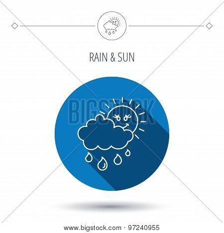 Rain and sun icon. Water drops and cloud sign.