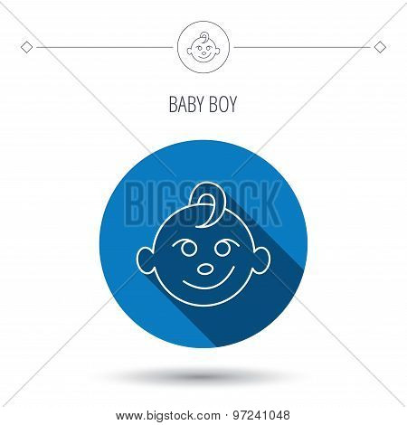 Baby boy face icon. Child with smile sign.