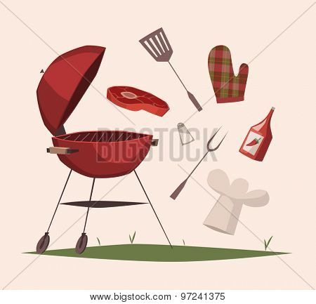 BBQ equipment. Vector illustration.
