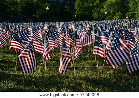 American Flags in Boston