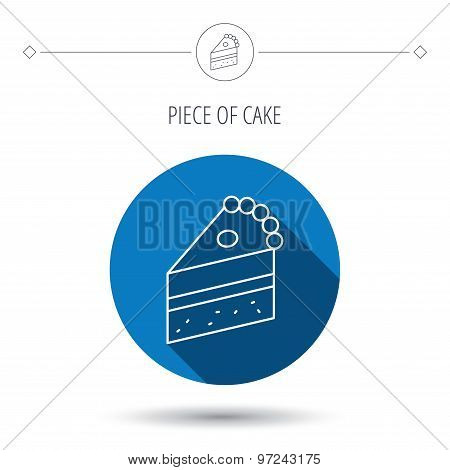 Piece of cake icon. Sweet dessert sign.