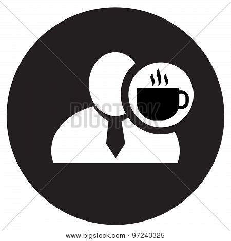 White Man Silhouette Icon With Coffee Symbol In An Information Circle, Flat Design Icon In Black Cir