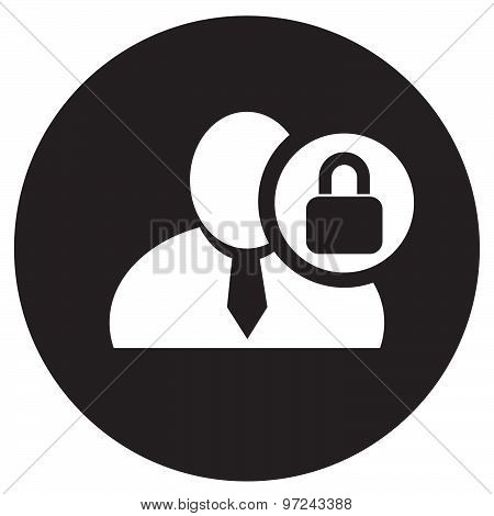 White Man Silhouette Icon With Lock Symbol In An Information Circle, Flat Design Icon In Black Circl