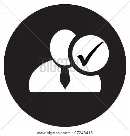 White Man Silhouette Icon With Check Mark In An Information Circle, Flat Design Icon In Black Circle