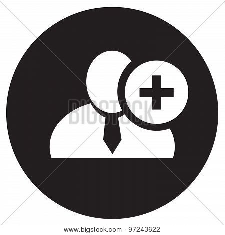 White Man Silhouette Icon With Plus Sign In An Information Circle, Flat Design Icon In Black Circle