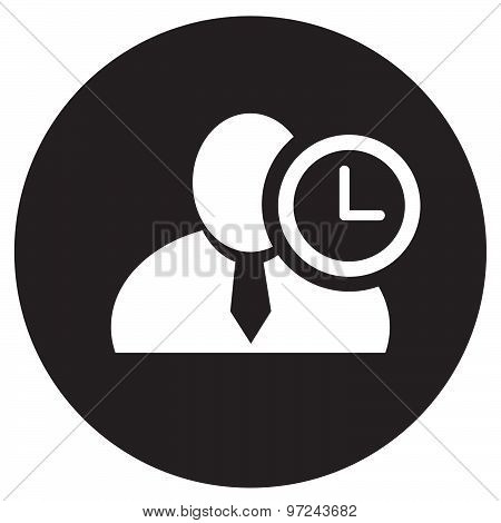 White Man Silhouette Icon With Clock Symbol In An Information Circle, Flat Design Icon In Black Circ