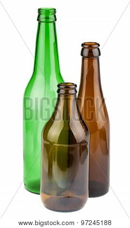 Green And Brown Empty Bottles Without Labels