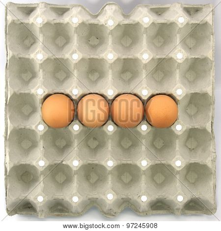 Minus Symbol Show By Eggs In Paper Tray