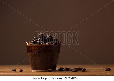 Ceramic Jug With Coffee Beans