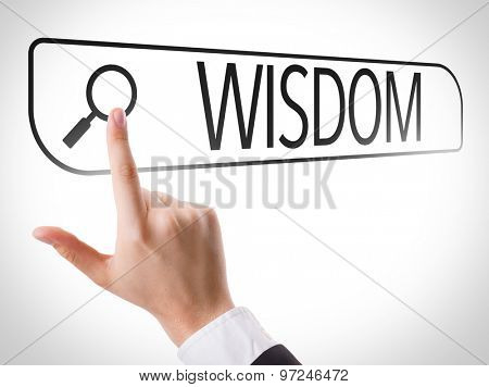 Wisdom written in search bar on virtual screen