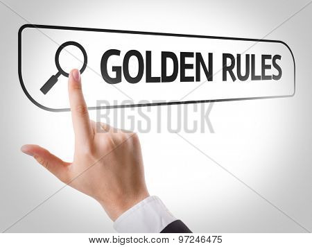 Golden Rules written in search bar on virtual screen