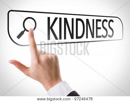 Kindness written in search bar on virtual screen
