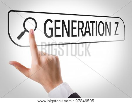 Generation Z written in search bar on virtual screen