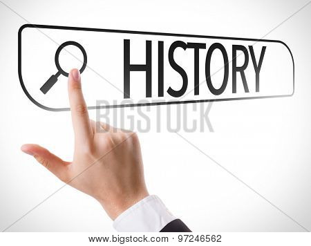 History written in search bar on virtual screen