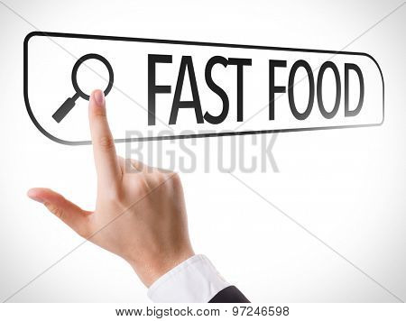 Fast Food written in search bar on virtual screen