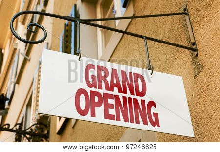Grand Opening sign in a conceptual image