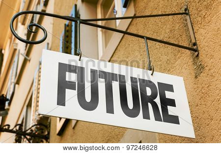 Future sign in a conceptual image
