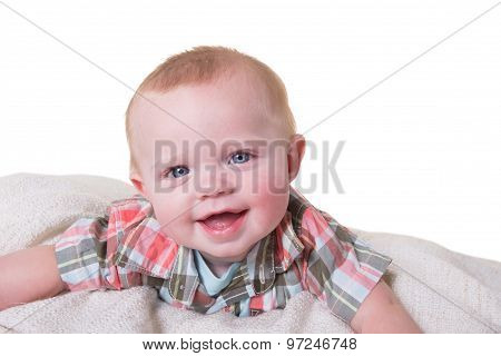 6 month old baby boy isolated on white