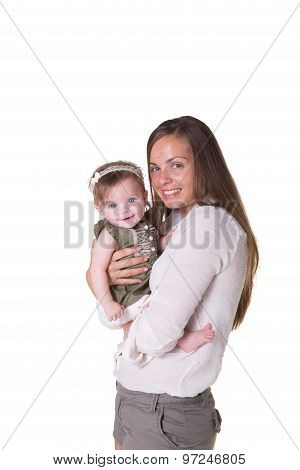 Portrait of a mother and her 6 month old baby girl isolated