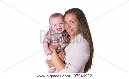 Portrait of a mother and her baby son isolated on white
