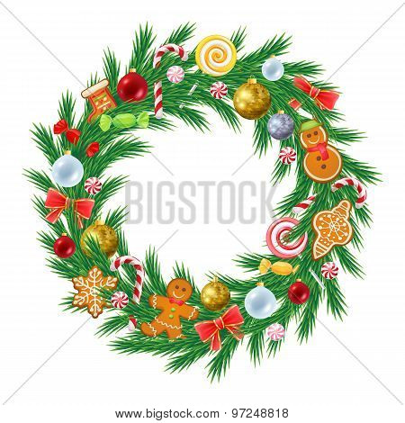 Christmas tree wreath with decorations.