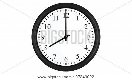 Realistic 3D clock set at 8 o'clock