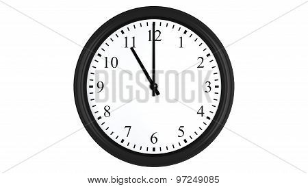 Realistic 3D clock set at 11 o'clock
