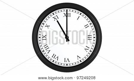 Realistic 3D clock with Roman numerals set at 11 o'clock