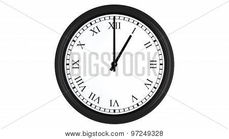 Realistic 3D clock with Roman numerals set at 1 o'clock