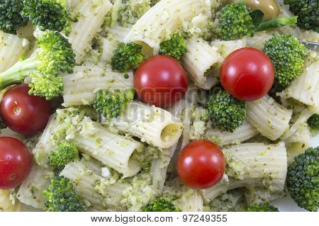 Pasta With Broccoli And Cherry Tomatoes Close-up
