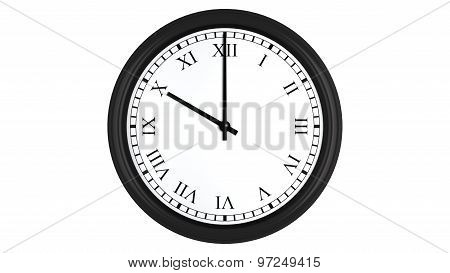 Realistic 3D clock with Roman numerals set at 10 o'clock