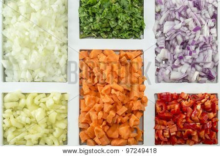 Colorful Spices, Vegetables And Food Ingredients Ordered On A Rectangular Shaped Plate