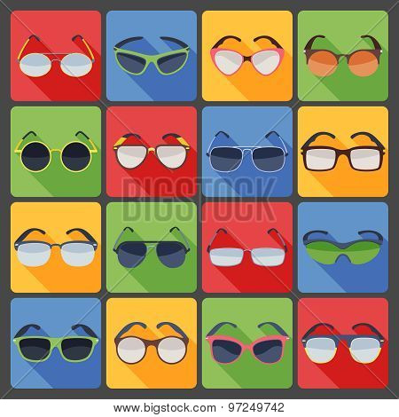 Sunglasses glasses fashion flat icons set