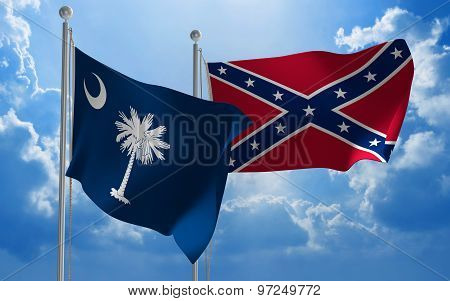 South Carolina and Confederate States flags flying together