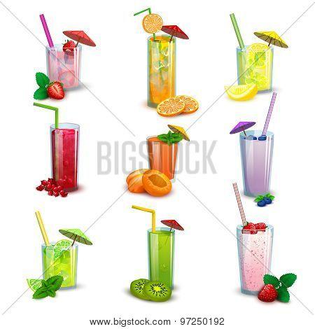 Summer milkshakes drinks flat icons set