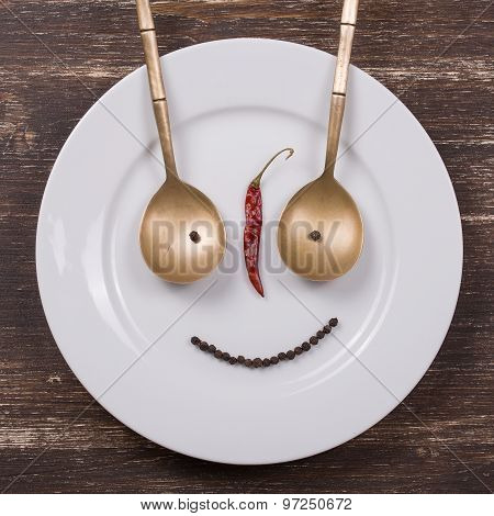 Happy Smiley Face On Dish Plate