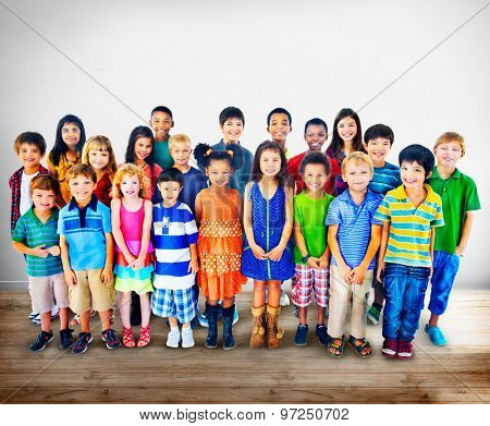 Kids Children Diversity Happiness Group Concept