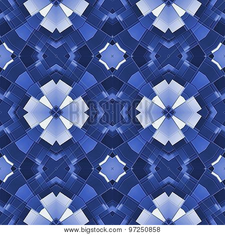 Seamless Kaleidoscopic Pattern In Blue