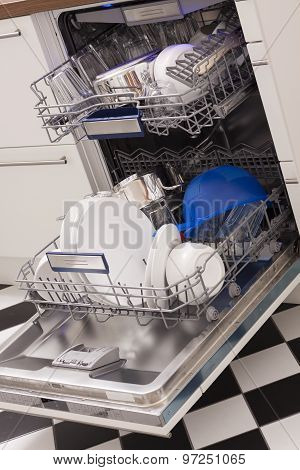 Dishwasher Loades In A Kitchen With Clean Dishes