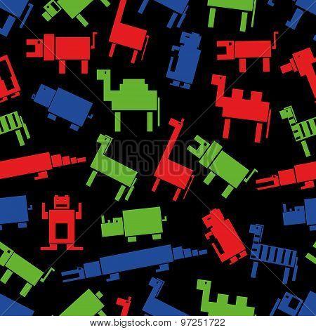 Red Green Blue Digital Retro Animals Pattern Eps10