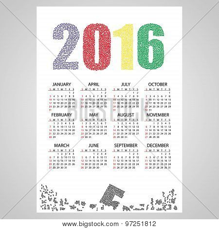 2016 Wall Calendar From Little Numbers Eps10
