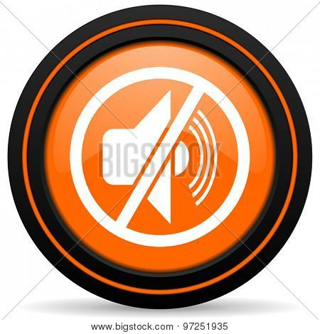 mute orange icon silence sign