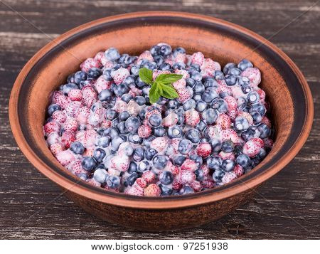 Fresh Fruit Salad With Strawberries And Blueberries , Wild Berry