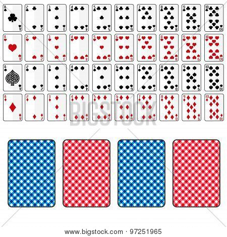 Set Of Playing Cards From Ace To Ten Eps10