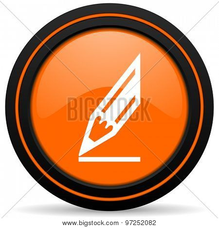 pencil orange icon draw sign