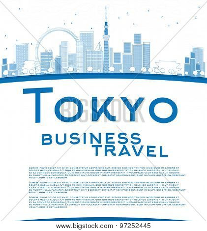 Outline Tokyo skyline with skyscrapers, sun and copy space. Business travel concept. Vector illustration