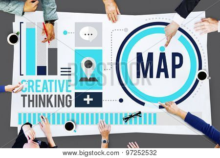 Map Direction Destination Location Route Concept