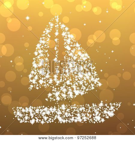 Starry Sailing Boat Background With Bokeh